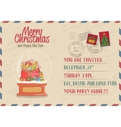Vintage Christmas Postcard with Stamp and Postmark vector image