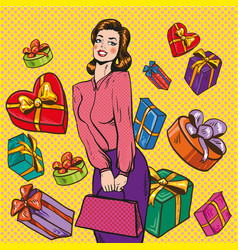 woman and gift boxes pop vector image vector image