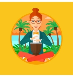 Woman playing ethnic drum vector