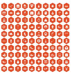 100 holidays icons hexagon orange vector