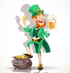 Cute leprechaun drinking beer and protects gold vector