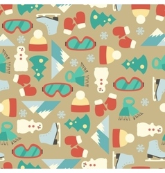 Seamless line pattern with winter elements vector