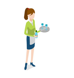 Restaurant waitress with metal tray and bottle vector