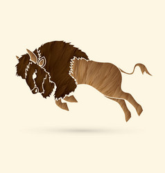 Buffalo jumping graphic vector