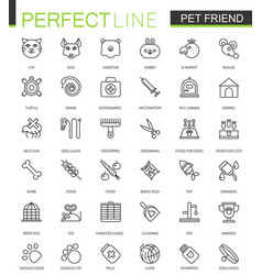 Pet friend thin line web icons set pet shop vector