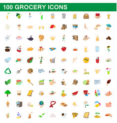 100 grocery icons set cartoon style vector