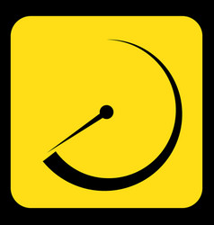 Yellow black sign - gauge dial symbol icon vector
