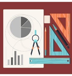 Design drawings and drawing a project by pencil vector image