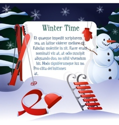 Winter time background vector