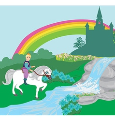 Prince riding a horse to the castle vector