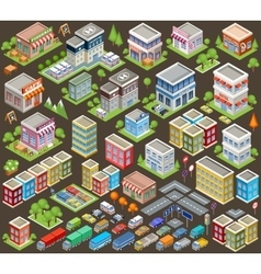 Big isometric set of buildings and houses vector image