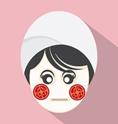 Woman with tomatoes pieces on face vector