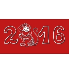 Numbers 2016 with monkeychinese zodiacred vector
