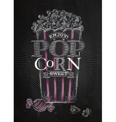 Poster popcorn sweet black vector