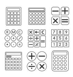 Calculator linear or outline icons set vector