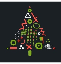 Card with abstract christmas tree vector