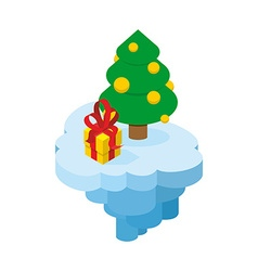 Christmas flying island piece of land with tree vector