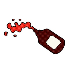 Comic cartoon squirting blood bottle vector