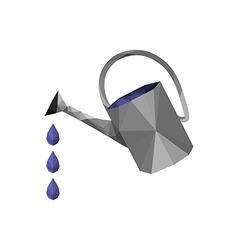 Origami watering can with water drops vector