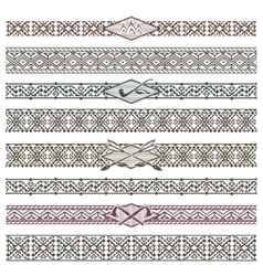 Ethnic native american border patterns vector