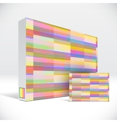 3d identity box with abstract colorful lines cover vector