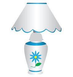 Blue and white electric lamp with lampshade with vector