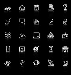 Business management line icons with reflect on vector image vector image
