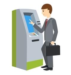 Businessman using ATM machine vector image vector image