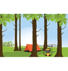Campsite in summer forest vector image vector image