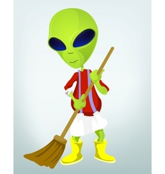Cartoon Cleaner Alien vector image