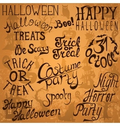 Collection of halloween hand typography designs vector