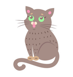 Cute cat cartoon flat sticker or icon vector