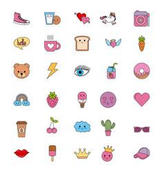 Cute set of icons fantasy kawaii cartoon elements vector