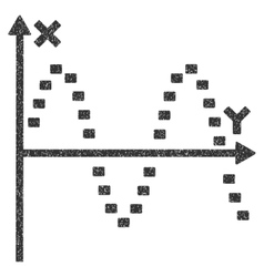 Dotted sine plot grainy texture icon vector