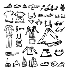 Fashion icons sketch on white background vector image vector image
