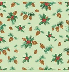 festive decorative seamless background lump pine vector image vector image