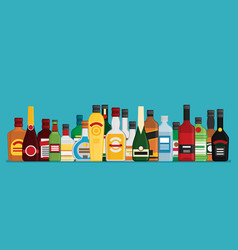 flat bottles with alcohol vector image vector image