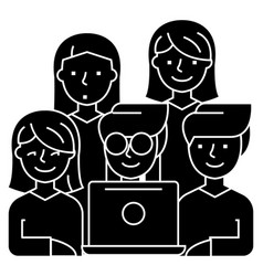 friends looking at notebook - 5 persons icon vector image vector image