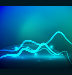 Glowing magic wave line with light effects in vector