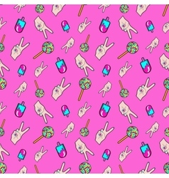 Hands and ice cream seamless pattern vector