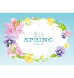 Hello spring background easter mothers day vector