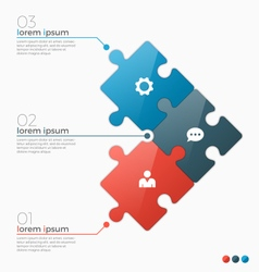 Infographic template with 3 puzzle sections vector