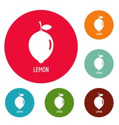 Lemon icons circle set vector