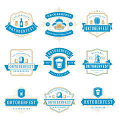 Oktoberfest celebration beer festival badges vector