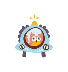 Owl driving a car with blinker stylized fantastic vector