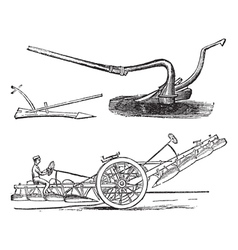Plough vintage engraving vector