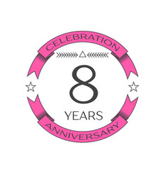 Realistic eight years anniversary celebration logo vector