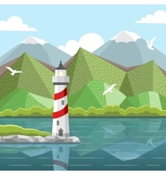 sea landscape with lighthouse vector image