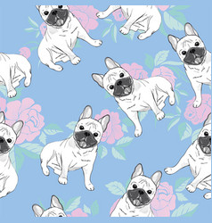 seamless pattern with cute french bulldog on vector image