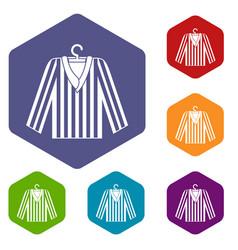 Striped pajama shirt icons set hexagon vector